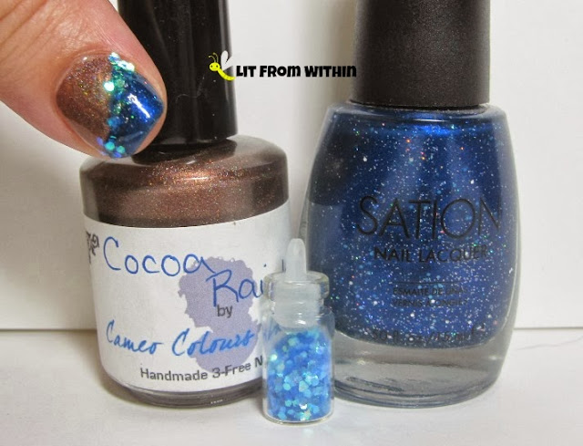 Bottle shot:  Cameo Colors Lacquer Cocoa Rainbow, Sation Let's Mingle and Jingle. and a little bottle of glitter.