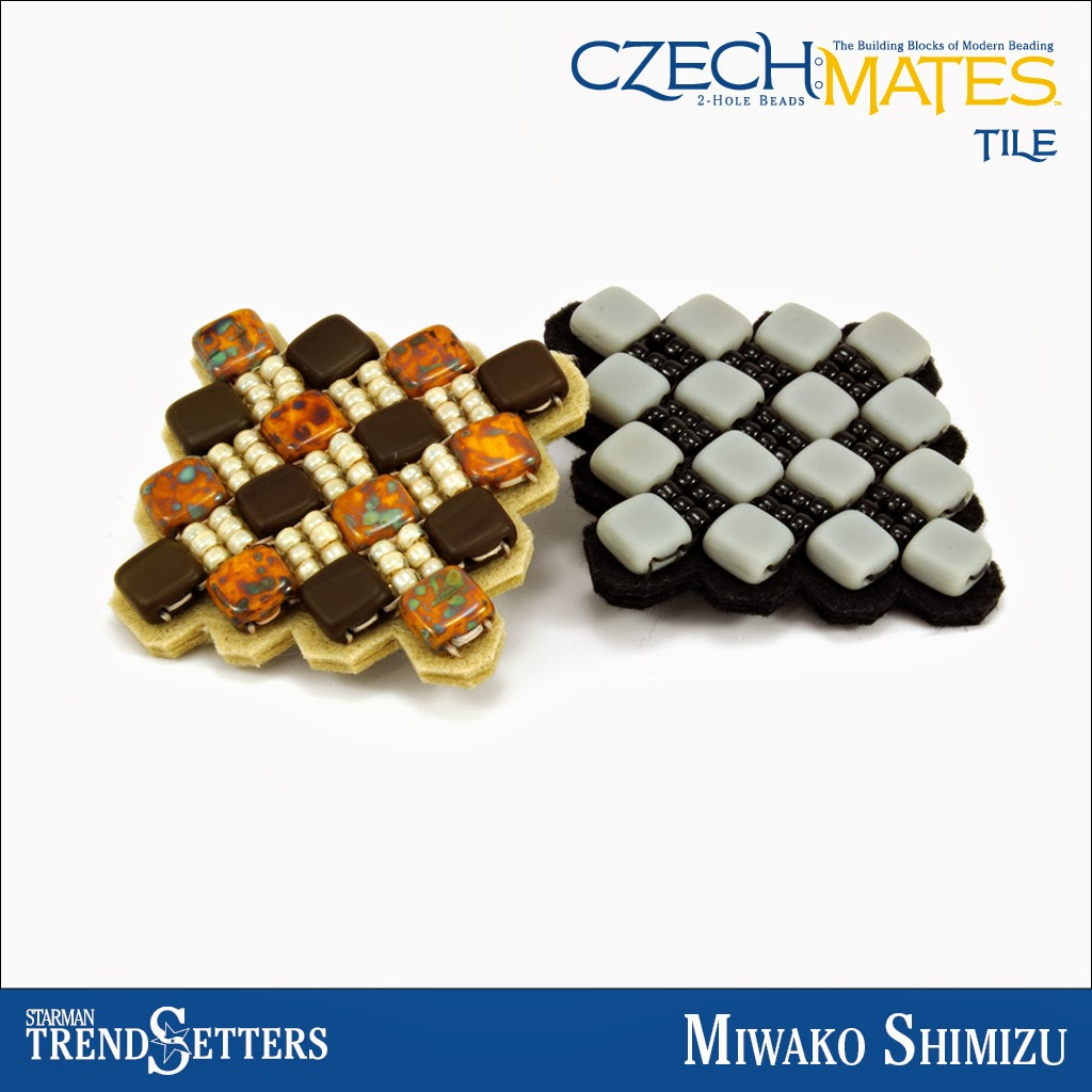 CzechMates Tile brooches by Starman TrendSetter Miwako Shimizu