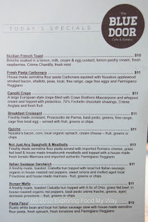 Blue Door Cafe's Specials Menu for Friday