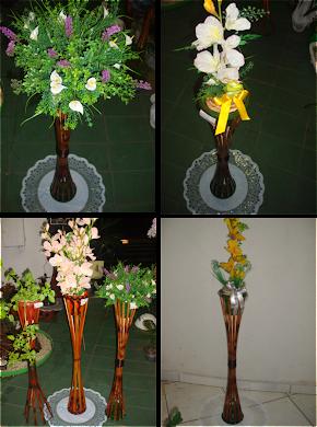 Pedestal para plantas em bambu