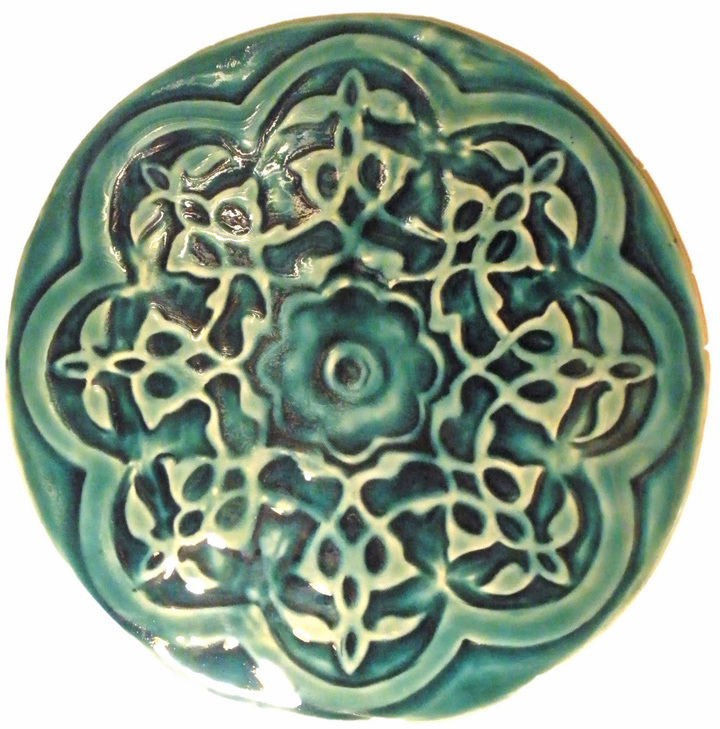 large round hand made turquoise moorish style tile for fountain
