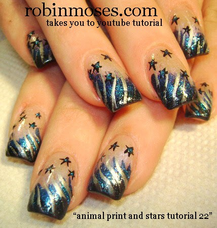 Moons And Stars Nail Art Star Nail Art Moon Nail Art Spring