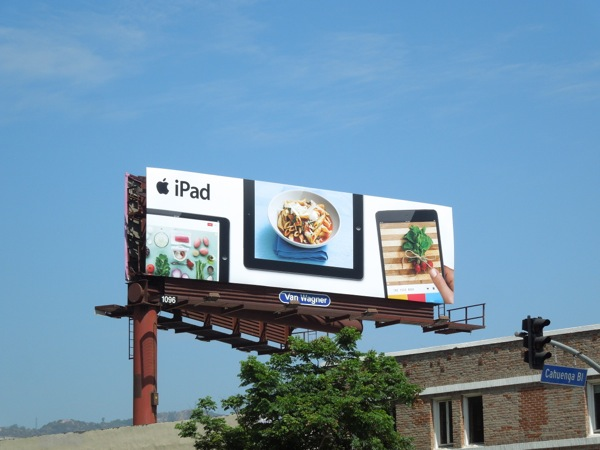 iPad cookery recipe billboard ad