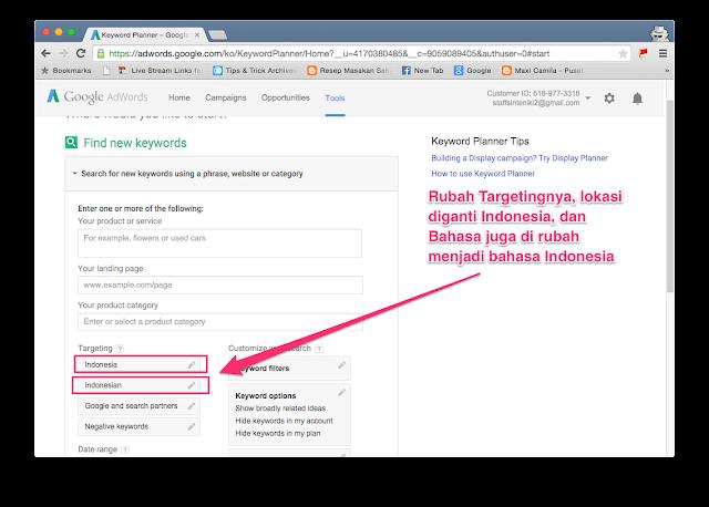 cari seting adwords.google.com - Keyword Planner