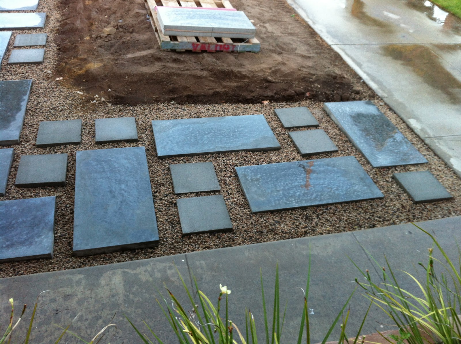 How to plant ground cover between pavers - Then We Laid The Front Walkway After Digging A Pile Of Dirt Out And Then Adding Base Pavers And Gravel