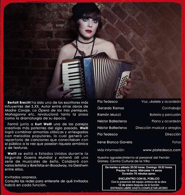 Pia Tedesco Teatro Fernan Gomez Centro Cultural de la villa cabaret brecht weill