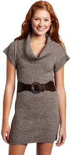 cute girl wearing cowl neck sweater with belt in brown