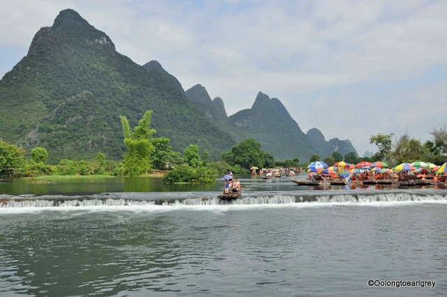 Bamboo rafts, The Yulong River,Yangshou, China