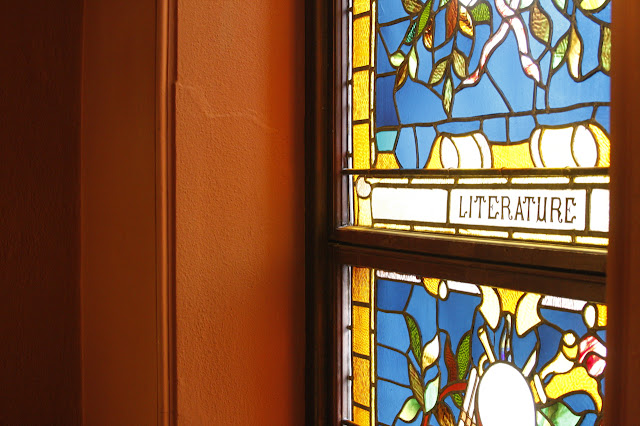 stained glass window literature library