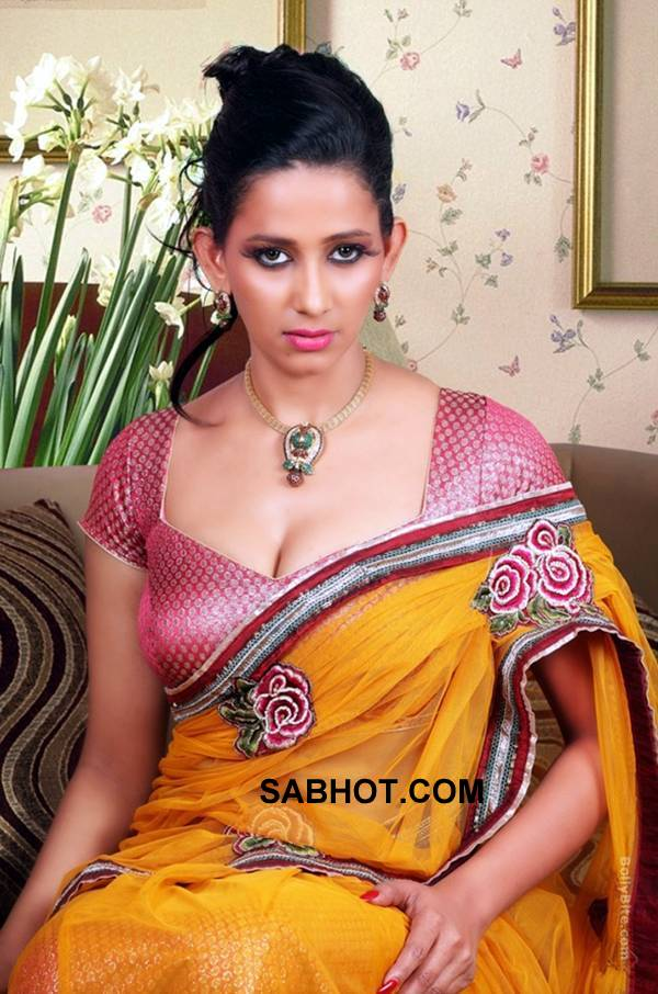 sanjana singh wears a deep neck maroon blouse and shows off her clevaage - Sanjana singh deep neck sari shoot