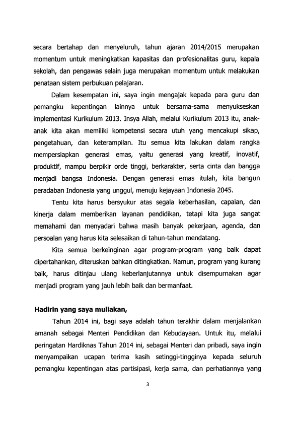 Sambutan Menteri Pendidikan Di Hardiknas 2014