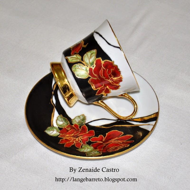 Xícara porcelana pintura by Zenaide Castro