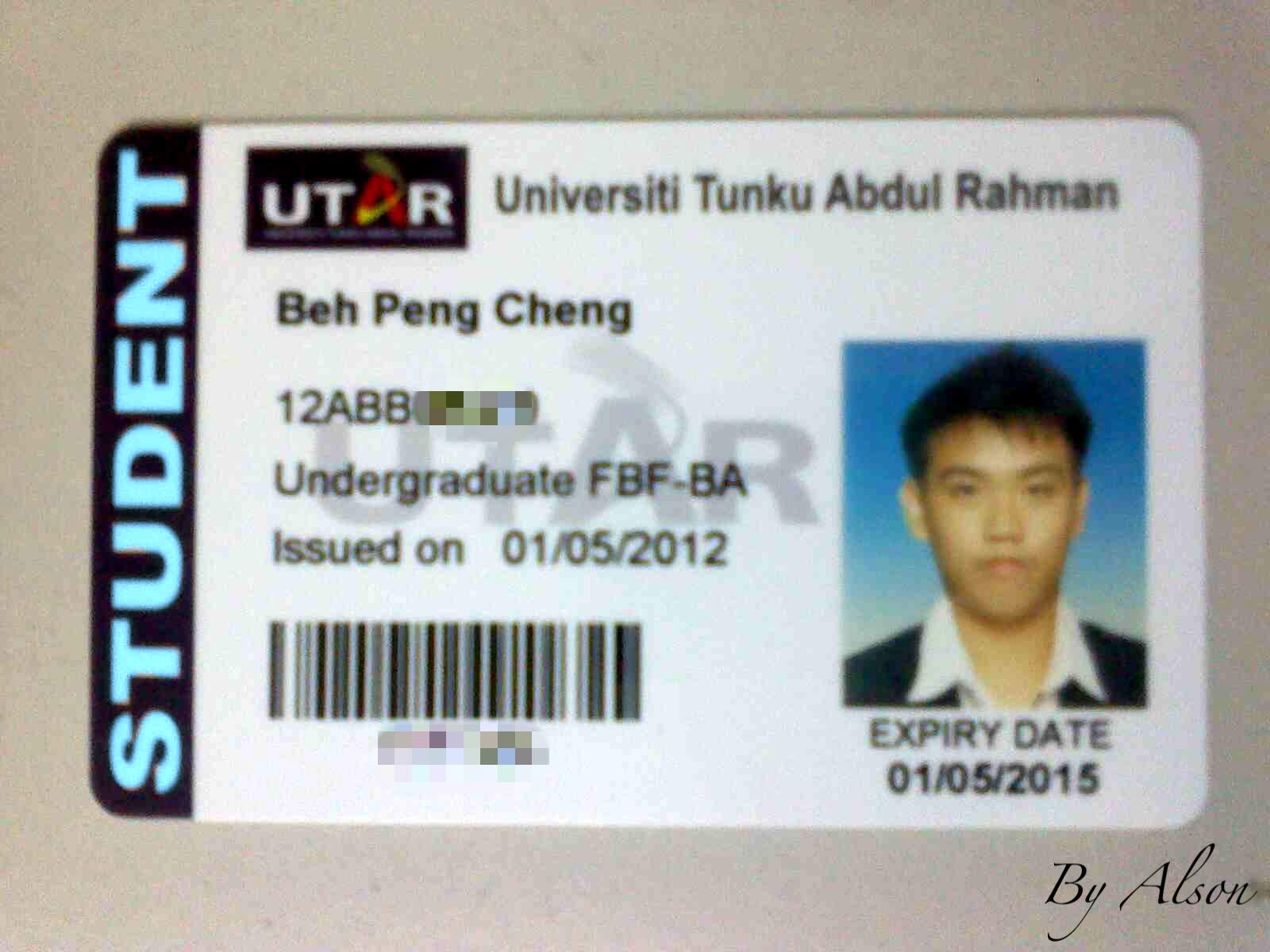 My World Alsonation UTAR Student ID Card