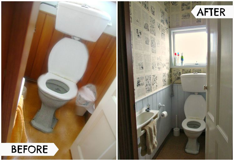 Quirky toilet makeover - before and after