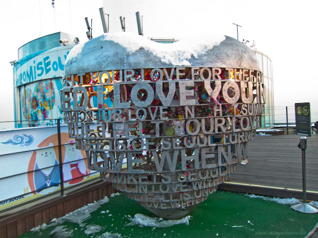 A heart structure on top of Mt. Namsan