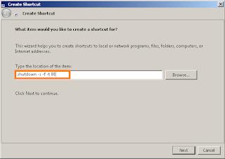 add shutdown shortcut in windows dekstop step 2
