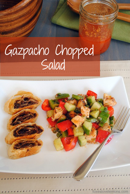 Gazpacho Chopped Salad with Bacon-Balsamic Strudel
