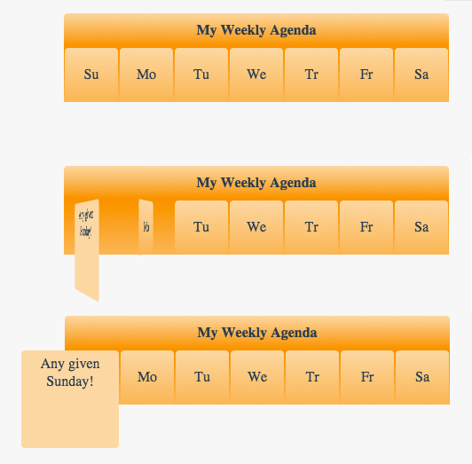 How To Create A Weekly Agenda Styled With CSS Using The Rotate Transform And Transition Properties