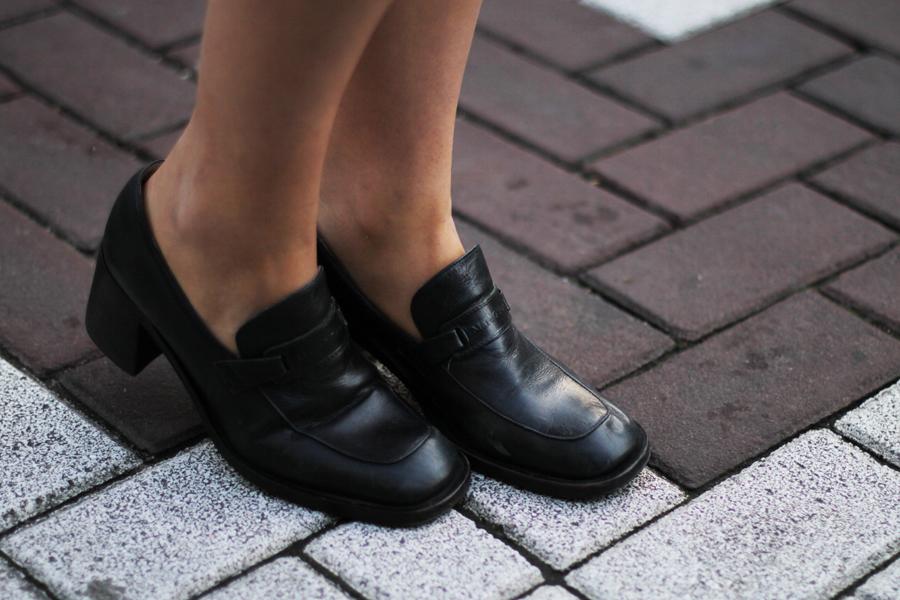 schwarze vintage schuhe