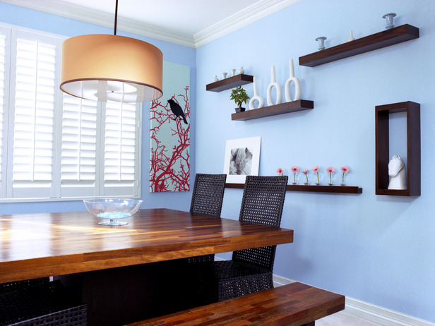 Floating Wall Shelves Dining Room Decorating Ideas