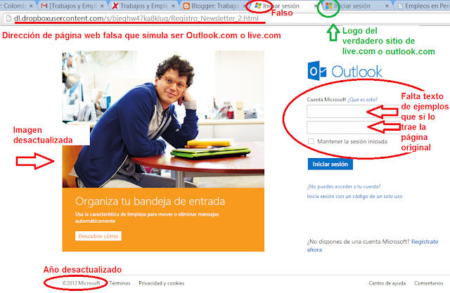 Página falsa de outlook.com