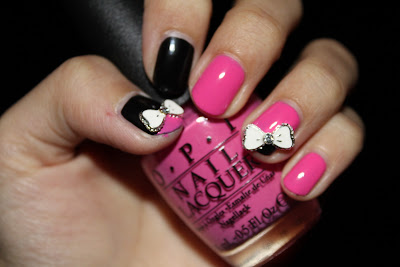 Black, Pink and Ribbon! Simple Vivid Nail Colors