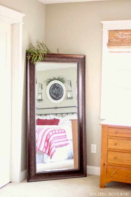 Full length mirror in master bedroom at christmas-www.goldenboysandme.com