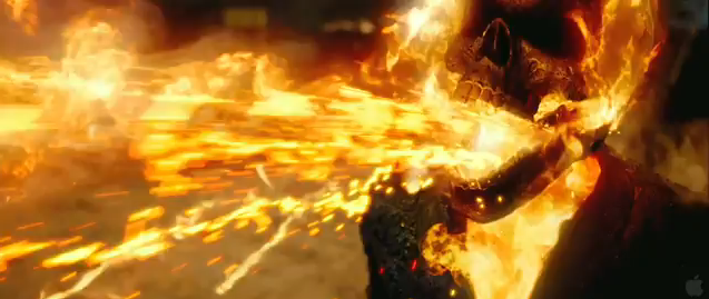 Ghost Rider 2 Spirit of Vengeance 2012 superhero movie sequel film starring Nicholas Cage as Johnny Blaze ghost rider spewing fire chains in film