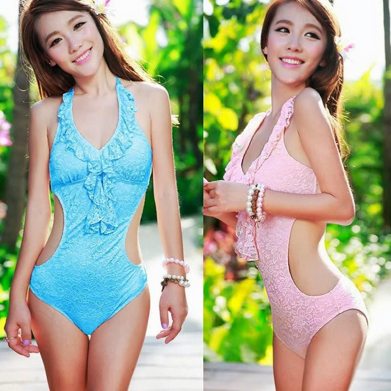 Allover Lace Womens Bikini Halter Bra Backless One-piece Monokini Swimwear 1LE