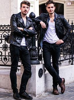 John Pavlish, Marko Costantini, mens fashion, biker jacket, skinny black jeans and white tee, fashion men winter street