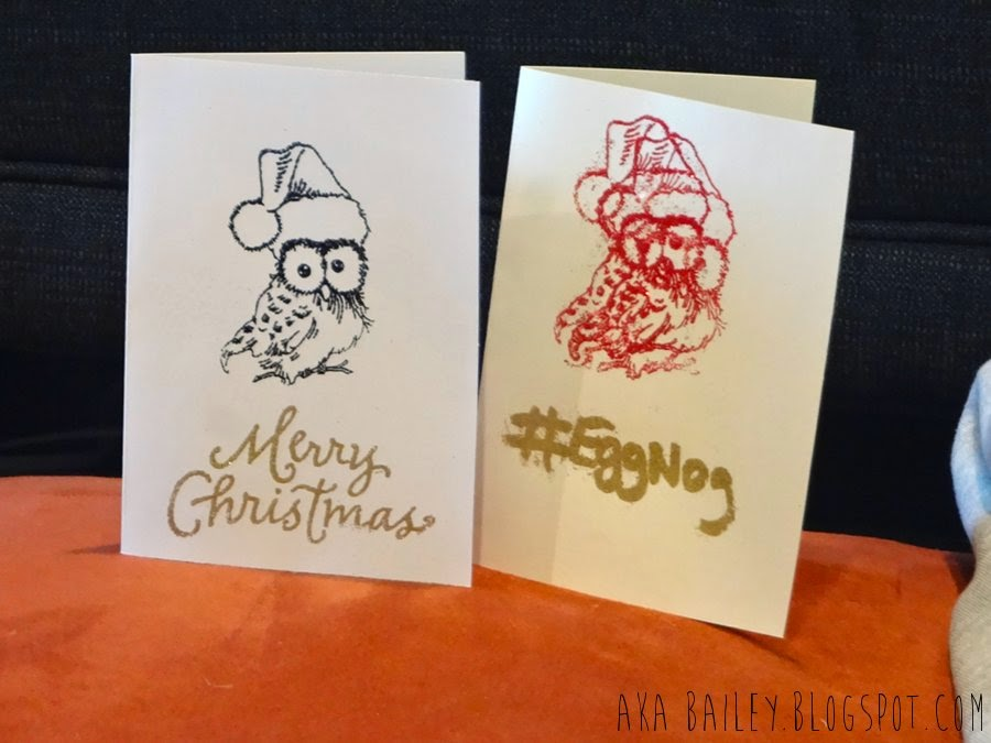 Holiday cards using owl stamps and embossing glitter