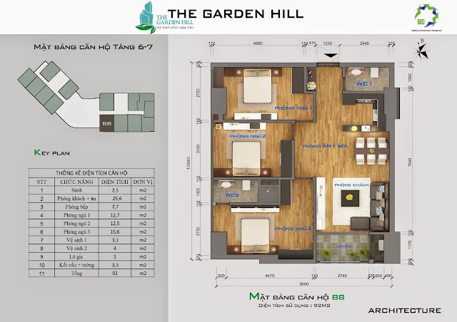 Căn B8 tầng 6, 7 Garden Hill - 99 Trần Bình