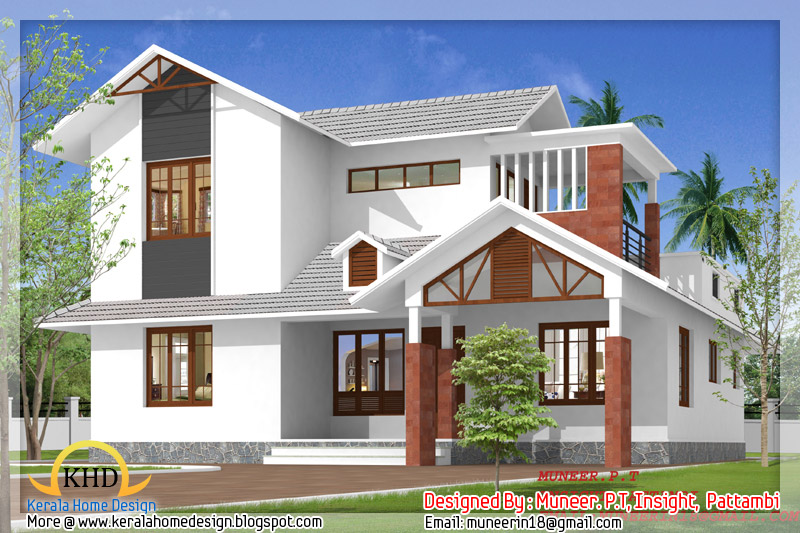 Beautiful home elevation designs in 3d kerala home design and floor plans - Beautiful design of a house ...