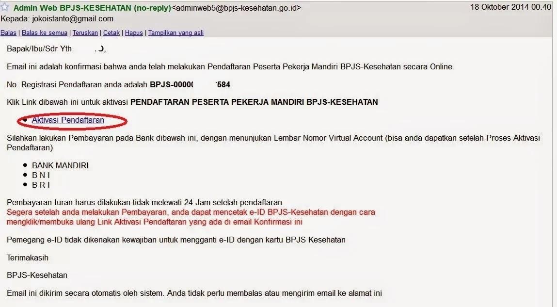 Gambar Hasil Aktivasi BPJS Online di Email