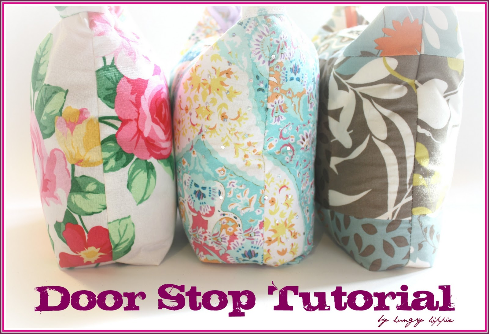 """This door stop is pretty simple for the advanced beginner. It does have a zipper, but no special sewing feet or tools were used to put the zipper in. As an option, you could leave out the zipper and just attach ribbons or ties for closure."