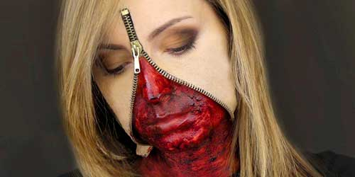 trucos maquillaje halloween cremallera cara