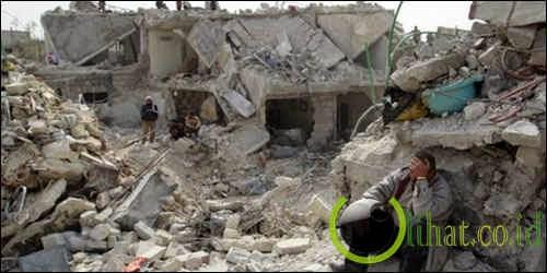 Reruntuhan di Syiria