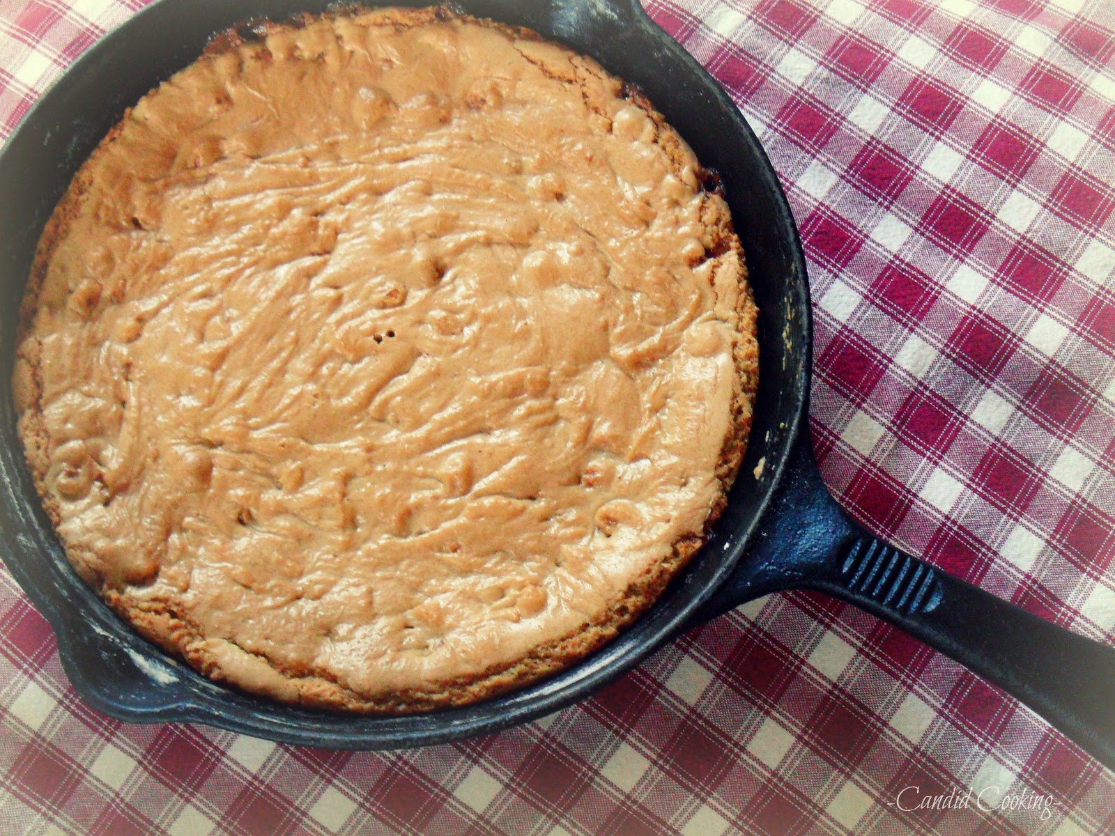 Candid Cooking: One Pan Caramel Chip Skillet Cookie