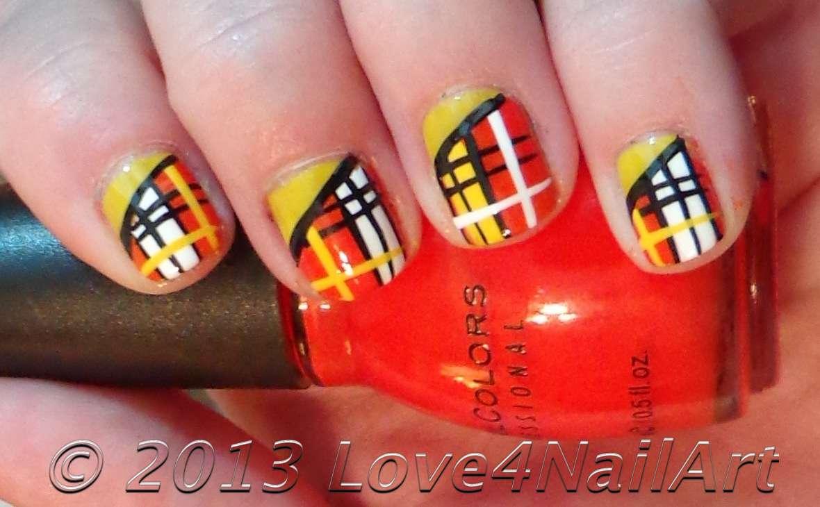 Love4NailArt: Orange & Yellow Plaid Short Nail Art Design (tutorial)
