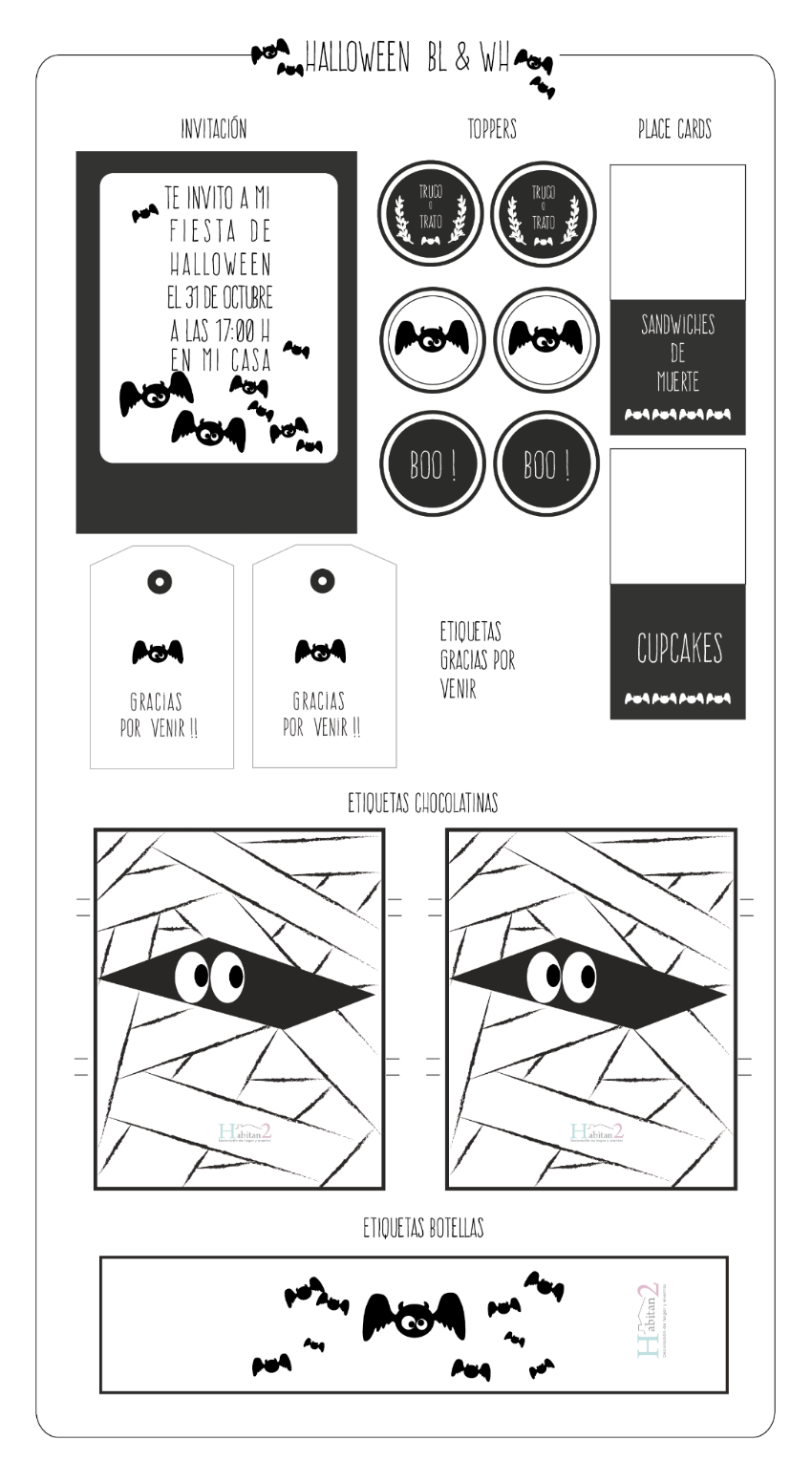 Party-kit para Halloween, diseño de Habitan2