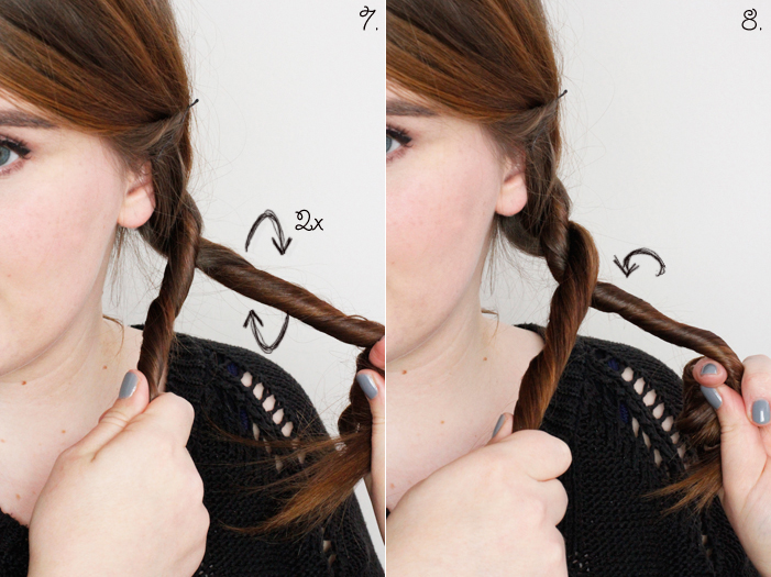 Hair Tutorial Cord Plait Step 7, 8