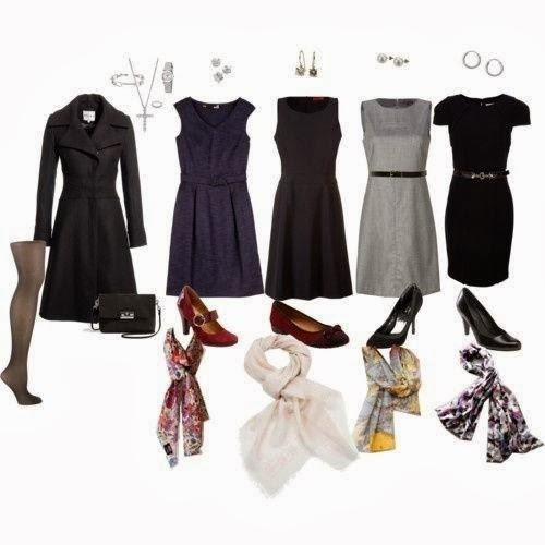 Coat and Classic Dresses with Suitable Shoes,Leather Black Bag and Colorful Scarves, Different Accessories