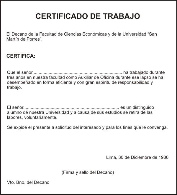 Muitas vezes El Certificado. Su redacción y modelo. ZW32