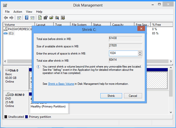 set new win 8 disk partition size