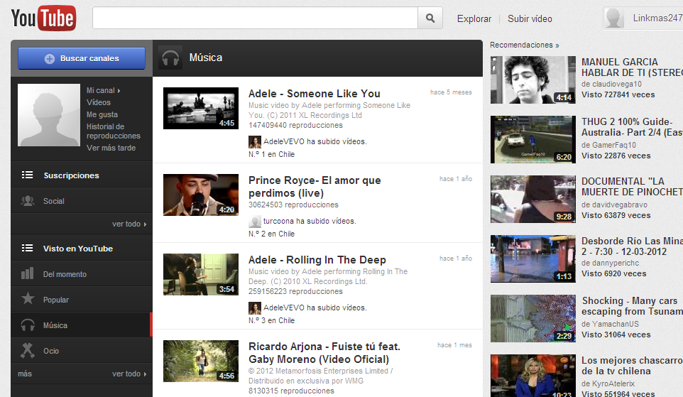 youtube en chile: