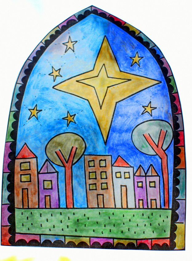 How to make Easy Christmas Stained Glass Craft (with printable included)