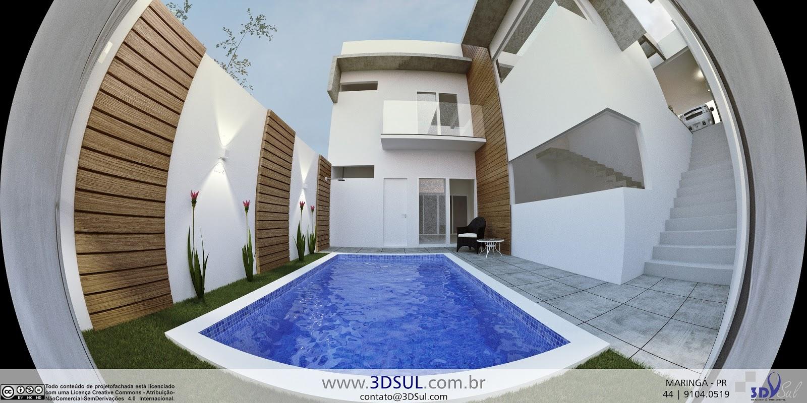 3dsul maquete eletr nica 3d projeto arquitetonico 3d for Casa moderna piscina