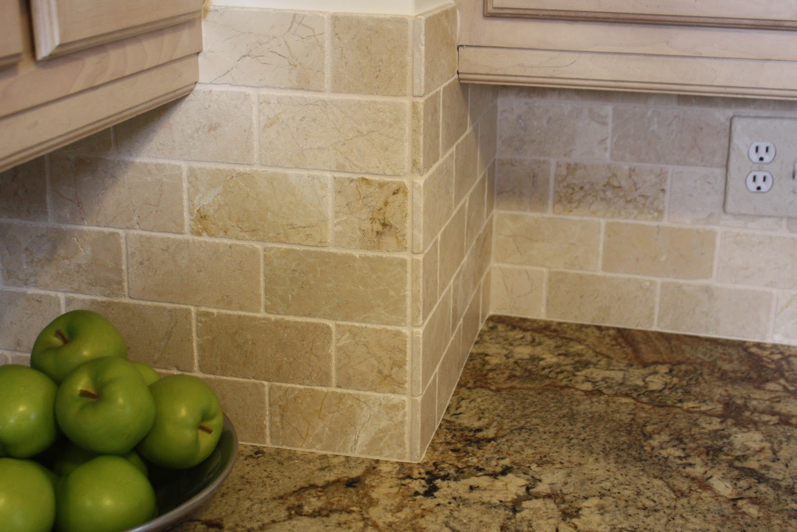 Natural Stone Backsplash tumbled marble backsplash is beautiful in a subway tile pattern
