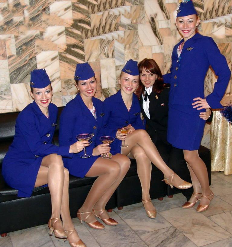 air stewardess in pantyhose