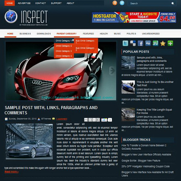 Inspect Blogger Template